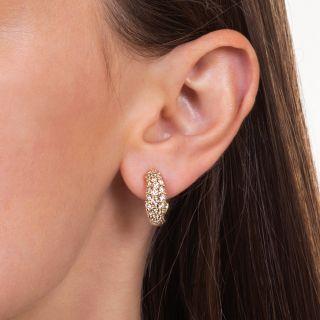 Curved Diamond Half Hoop Earrings