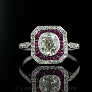 Art Deco Diamond Ruby Engagement Ring