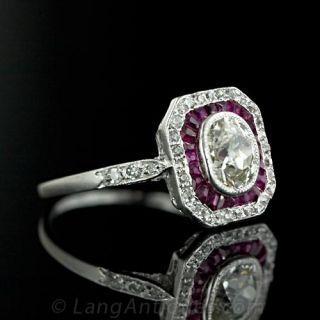 Cushion Cut Diamond and Calibre Ruby Ring