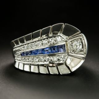 Deco/Retro Sapphire Diamond Feather Ring - 1
