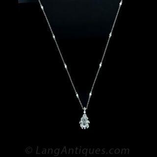 Delicate Pear Cut Diamond Pendant