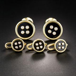 Diamond and Black Onyx  Button Motif Gents Dress Set
