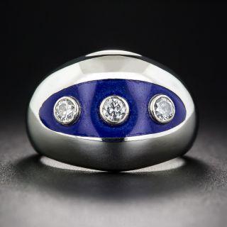 Diamond and Blue Enamel Three-Stone Ring, size 5