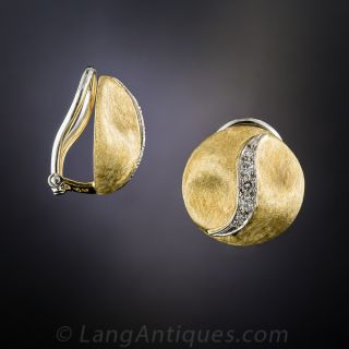 Diamond  and Gold Round Clip Earrings