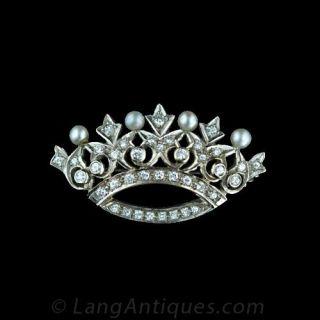 Diamond and Natural Pearl Crown Pin Main View