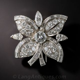 Diamond and  Platinum Flower Clip Pin - 1