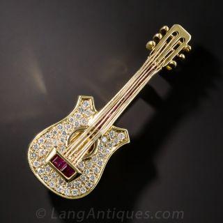 Diamond and Ruby Guitar Brooch