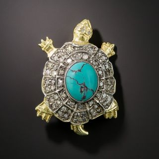 Diamond and Turquoise Turtle Brooch