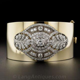 Diamond Art Deco Brooch Bangle Bracelet