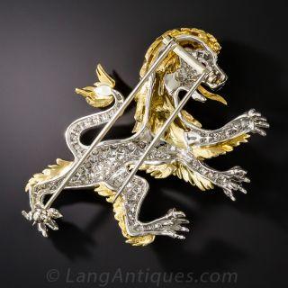 Diamond British Lion Brooch by McTeigue