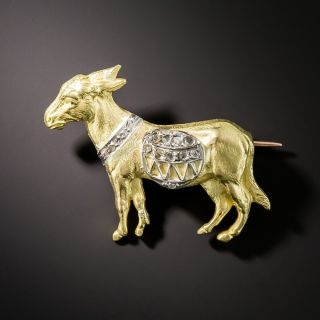 Antique Diamond Donkey Pin - 1