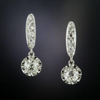 Art Deco Diamond Drop Earrings - GIA - 2