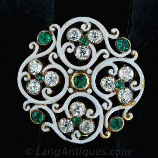 Diamond  Emerald and White Enamel Pin Main View