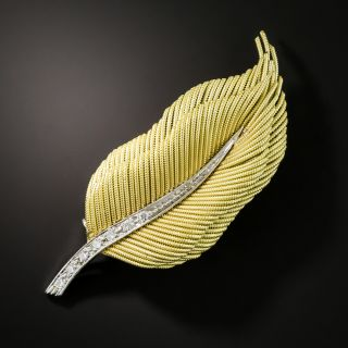 Diamond Feather Brooch by Coroletto of Italy  - 2