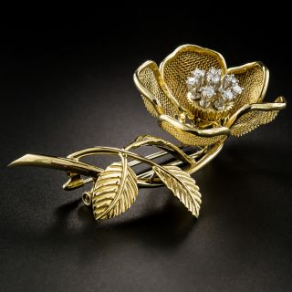 Diamond Flower Brooch with Articulated Petals - 3