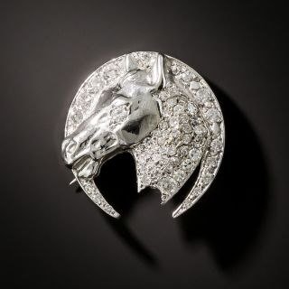 Diamond Horse Head Brooch - 2