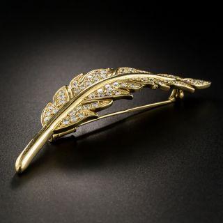 Diamond Leaf Brooch