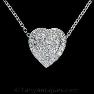 Diamond Pave Heart Pendant - 1