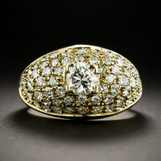 Diamond Pavé Ring with .45 Carat Center Diamond - 1