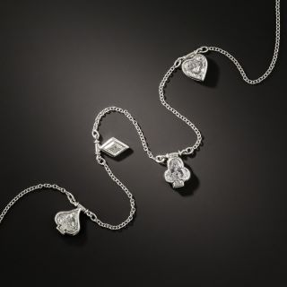 Diamond Playing Card Suits Platinum Necklace - 2