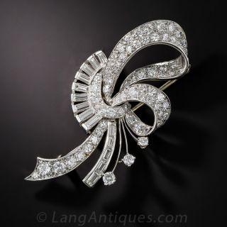 Diamond Ribbon and Floral Motif Pin - 1