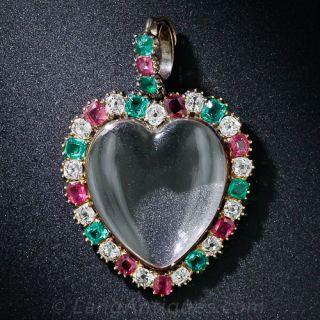 Diamond, Ruby and Emerald Heart Locket Pendant - 1