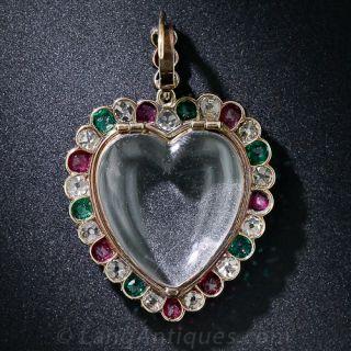 Diamond, Ruby and Emerald Heart Locket Pendant