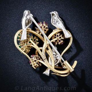 Diamond, Ruby and Emerald Love Bird Brooch