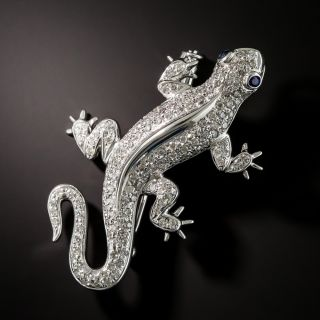 Diamond Salamander Brooch - 1