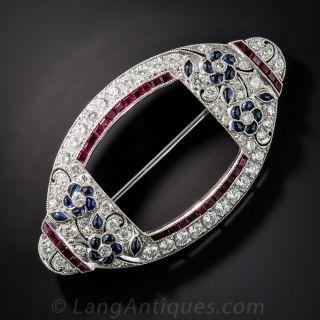 Diamond, Sapphire and Ruby Art Deco Style Brooch Pendant - 2