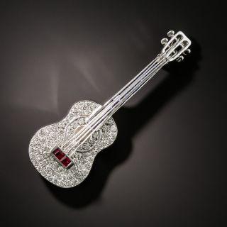 Diamond, Sapphire  and Ruby Guitar Brooch - 3