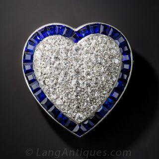 Diamond Sapphire Platinum Heart Pin / Pendant - 1