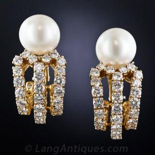 Diamond, South Sea Pearl, 18K Yellow Gold Ear Clips - 1