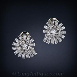 Diamond Spiral Clip Earrings - 1
