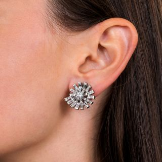 Diamond Spiral Clip Earrings