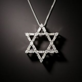 Diamond Star of David Pendant - 1