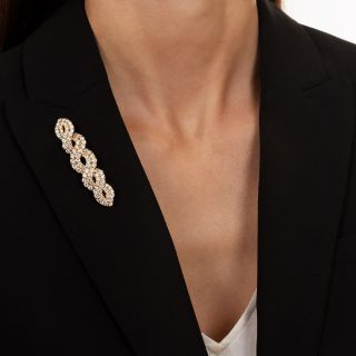 Diamond Weave Brooch, 5.46 Carat Total Weight