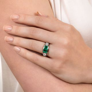 Estate Double Emerald and Diamond Ring