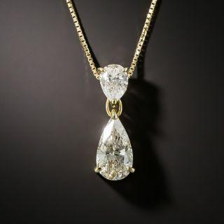 Double Pear Shape Diamond Drop - 2.01 Carat Total - 1