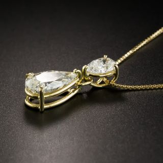 Double Pear Shape Diamond Drop - 2.01 Carat Total - GIA