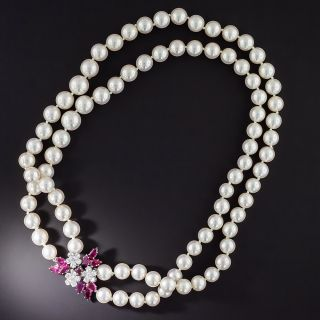 Double-Strand Cultured Pearl, Ruby and Diamond Necklace - 1
