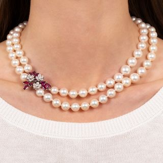 Double-Strand Cultured Pearl, Ruby and Diamond Necklace