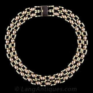 Double Strand Retro Gold Link Necklace