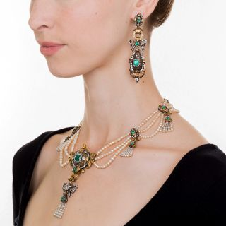 Early-19th Century Emerald Diamond Natural Pearl Necklace and Earrings