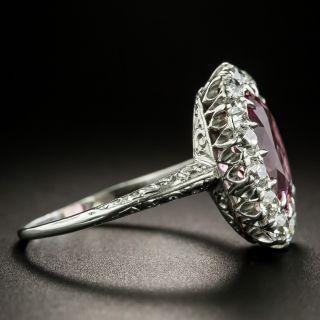 Early 20th Century 3.51 Carat Pink Tourmaline and Diamond Ring