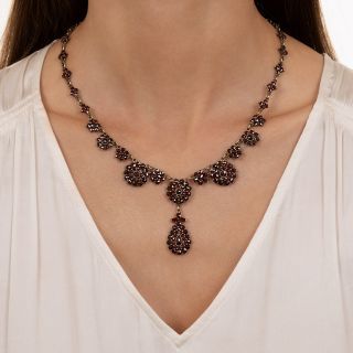 Early-20th Century Bohemian Garnet Cluster Necklace