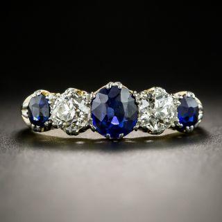 Early 20th Century British Sapphire Diamond Five-Stone Ring - 2