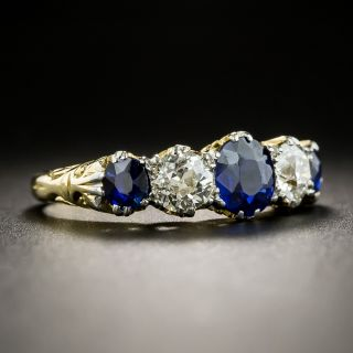 Early 20th Century British Sapphire Diamond Five-Stone Ring