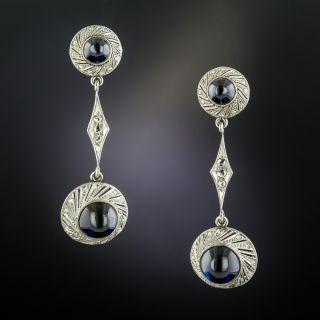 Early 20th-Century Cabochon Sapphire Diamond Earrings - 2