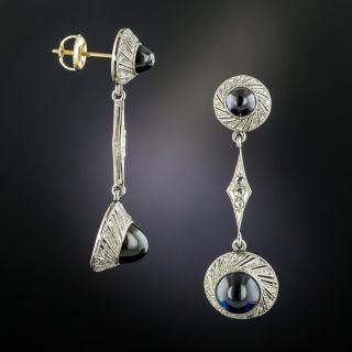 Early 20th-Century Cabochon Sapphire Diamond Earrings